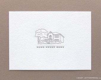 custom letterpress printed house illustration