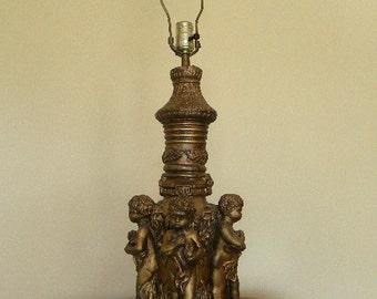 Vintage Gilt Cherub Large Table Lamp Hollywod Regency