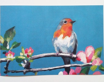 art  print of bird-robin red breast- blue tit - Big paper print - animal bird prints - PRINT ART-fine art paper  size A3