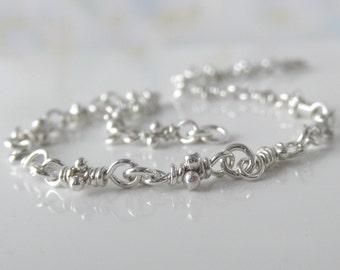 Sterling Silver Knots Bitsy Bracelet, Rustic Knot Links, Organic Linked Handmade Chain, Dainty Boho Bracelets, Aroluna