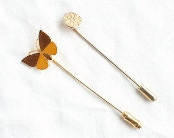 Butterfly and Flower Stickpins Vintage lot of 2 Small Stick Pin Brooches