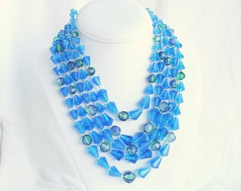 Blue Lucite Crystal Necklace Vintage Multi Strand Layered Bib Multistrand Necklace Germany