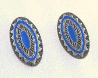 Blue Pewter Enamel Earrings Vintage Oval Southwestern Clip On