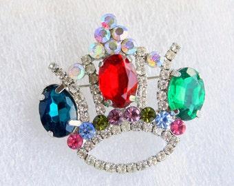 Rhinestone Crown Brooch Vintage Silvertone Pin Green Blue Red