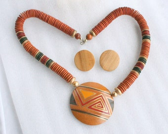 Tribal Wood Necklace Pierced Earrings Set Vintage Disc Chunky 1970s Tribal Style