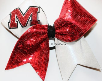 Custom  Sequin School Initial or mascot Cheerleading Hairbow