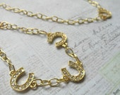 Gold Horseshoe Necklace and Bracelet Set