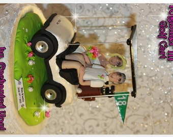 Golf Cart Wedding Cake Topper, Personalized, Custom