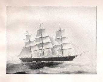 Print of the Sailing Ship Archer, built in 1852