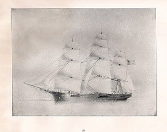 Old Print of the Sailing Ship Gleaner, built in 1854