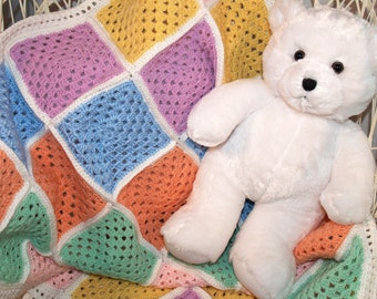 Baby Afghan, Crocheted - Blanket, Granny Square, Pastels, MultiColor, Pink, Green, Yellow, Peach, Blue, Purple, Soft, Ready To Ship