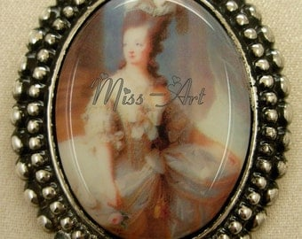 Marie Antoinette Portrait French Historical Icon Porcelain Cameo Silver Brooch And Pendant Miss-art SparklingTreasures2U