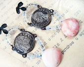 The Lovers. Antique coin assemblage earrings with gem moonstone peruvian opal.
