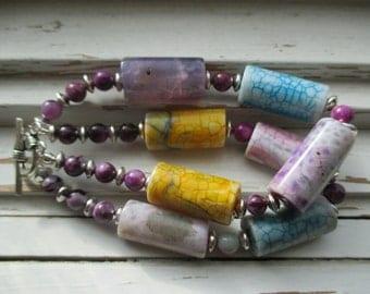 Totally tubular agate bracelet, double strand bracelet, mottled agate, gemstone bracelet