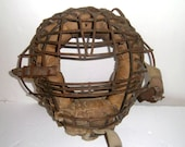 Antique Baseball Catchers Mask - Leather and Metal Catchers Mask - Old Sports Equipment - Antique Sports Gear - Baseball Catchers Mask