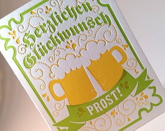 Letterpress German Congratulations Card- Green and Yellow