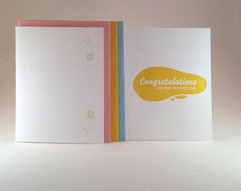 New Baby Congratulations letterpress card-Boy, Girl or Neutral