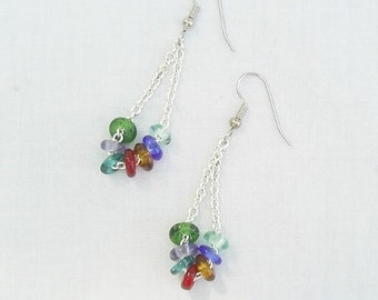 Multi Colored Dangle Earrings - Glass Rings