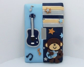 Monkey, Rockstar, Light Switch or Outlet Cover - Rockstar Nursery - Blue - Monkey Nursery Decor - Polymer Clay - Toggle or Rocker Cover