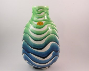 Vintage Inarco Italy Vase Blue Green and White Wavy Striped Pattern Made in Italy