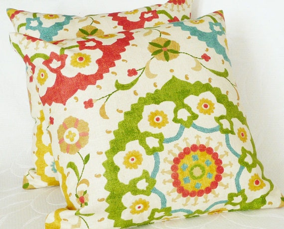 Colorful Suzani Pillows, 20x20, 50x50 cm, Decorative Throw Pillows, Couch Cushion Covers, Red Turquoise Mustard Green Medallions on Cream
