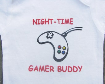 Video Game Bodysuit, Night Time Gamer Buddy Bodysuit, Long Sleeve and Short Sleeve
