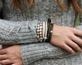 Boho Braided Leather Wrap Bracelet / White Eco Friendly Leather Sterling Silver CZ / Winter Snow White / Layering Bracelet Fashion Jewelry