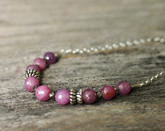 Genuine Ruby Sterling Silver Necklace / Layering Delicate Jewelry Rose Bright Hot Pink Dark Oxidized Silver Nuggets Zipper / July Birthstone