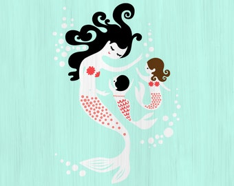 "1/3 OFF SALE! 12X12""  mermaid mother & twin girls giclee art print on fine art paper. light turquoise, pink, brunette, black. paint texture"