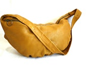 French Vintage yellow Mustard Slouchy Leather Shoiuder Bag