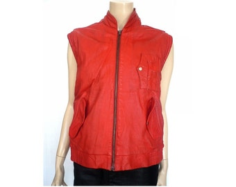 CRISTIE French Vintage 80s Red Leather Zipped Up Vest