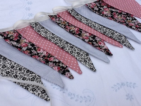 SALE Black, White and Pink Bunting - Floral, and abstract designs, great for a neutral room was 21 dollars