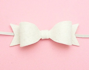 White Felt Bow Headband, Petite Newborn Baby Headband 85 colors, Felt Headband for Babies, Christening, Baptism