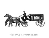 Carriage HEARSE - funeral vehicle- CLiNG RuBBer STaMP by Cherry Pie Art Stamps