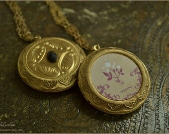 Jasmine natural solid perfume locket pendant with chain- vegan friendly
