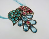 Art Deco Dress Clip/Rhinestone Jewelry/Vintage Pendant/Large Pink Blue Teal/1920s 1930s Jewelry