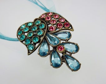 Art Deco Dress Clip/Rhinestone Jewelry/Vintage Pendant/Large Pink Blue Teal/1920s 1930s Jewelry