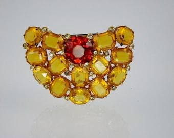 Art Deco Dress Clip/1930s Vintage Jewelry/Yellow Orange Rhinestone/Pendant/Costume Jewelry/Gatsby Jewelry