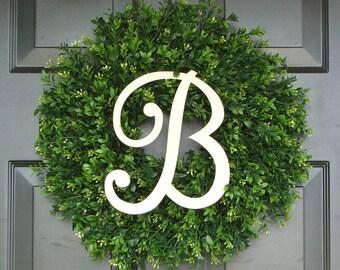 Monogram Boxwood Wreath, Monogram Wreath, Outdoor Decor, Fall Wreath, Etsy Wreath, THIN WREATH for Storm Door, 20 INCH Shown