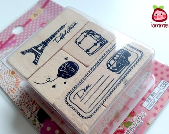 Rubber Stamps, Paris, Eiffel tower, France, FOUR patterns, stamp, ink pad, wood, card decoration, card, decor, scrapbook, balloon, suitcase