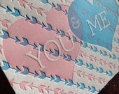 Letterpress Love Greeting Card -  You & Me - Valentines Day (single)