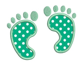 Applique Baby Footprints Foot Prints Machine Embroidery Designs 4x4 & 5x7 Instant Download Sale