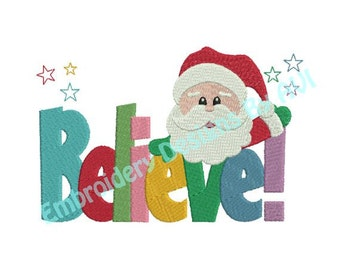 Christmas Santa Claus Believe Saying Machine Embroidery Designs 4x4 & 5x7 Instant Download Sale