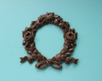 Medium Rose Wreath Furniture Applique, Shabby Chic Brown Distressable Onlay