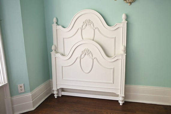 shabby chic twin bed frame white roses toddler transition cottage prairie