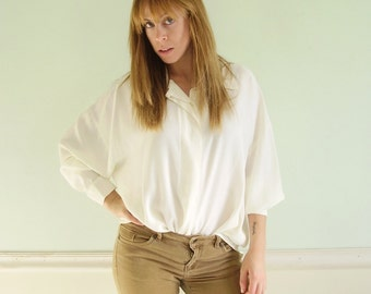 White 90s Semi Sheer Button Down Oversized Blouse - Vintage - LARGE L