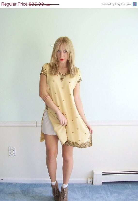 25% OFF . . . Ethnic Beaded Vintage 80s SS Creamy Coffee Brown Mini Dress Tunic SMALL S