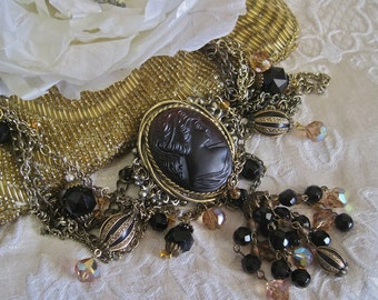 Midnight Muse: Gothic Cameo Necklace Vintage Assemblage Dark Victorian Beauty Cameo Jet Aurora Borealis Topaz Jewels Tassel Drape of Chains