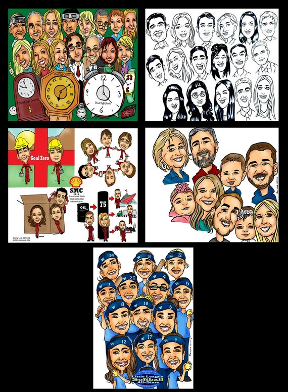 Corporate group caricature