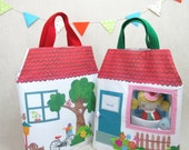 Dollhouse - PlayhouseTote with Pocket Studio Doll and Friend - Girl, Dollhouse, Doll, Travel, Tote, Made to order